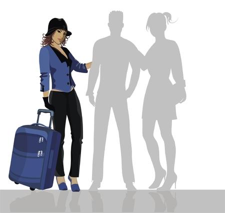 hermosa mujer con equipaje
