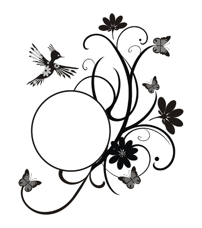 ornate frame with flowers, butterflies and bird - to place your art or text Stock Vector - 7053699