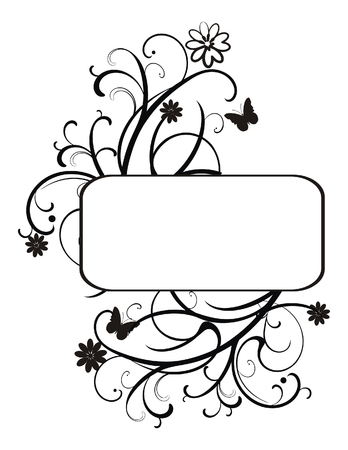 ornate frame with flowers and butterflies Stock Vector - 7053697