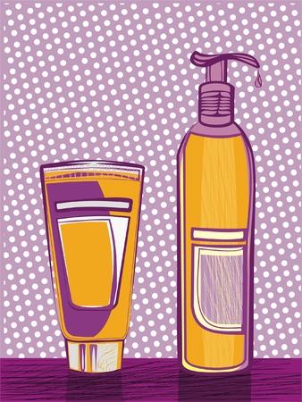 botellas con cosm�ticos  Vectores