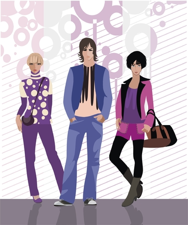 casual fashion: background with fashion models - boy and two girls