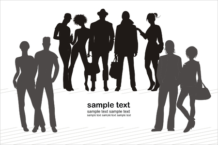 modify: background with human silhouettes easy to modify Illustration