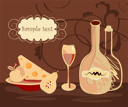 wine bottles, wineglass and plate with cheese and fruits at the evening Vector