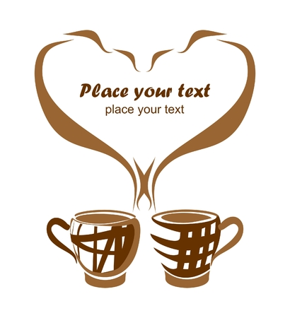 two objects: background with two coffee cups