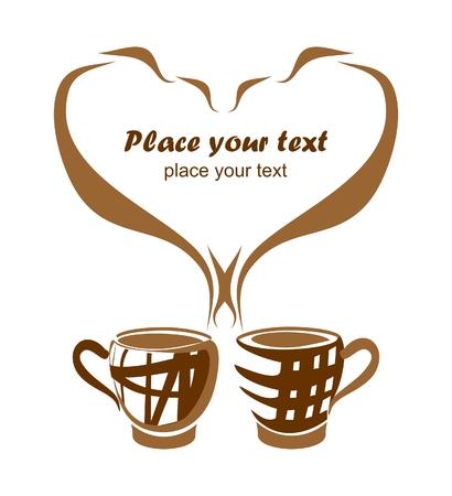 Hintergrund mit zwei Kaffeetassen Vektorgrafik