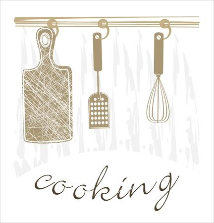 Fondo culinaria con utensilios de cocina