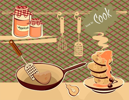 confiture: preparing the pancakes with confiture Illustration