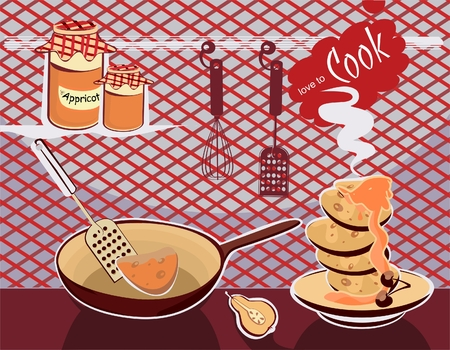 preparing the pancakes with confiture Vector