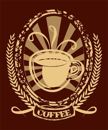background with coffee cup in retro style Illustration