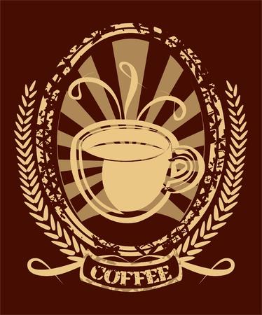 Fondo con una taza de caf� en estilo retro