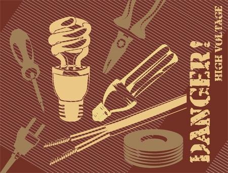 electric plug: sfondo con un cacciavite, isolanti tape, spina elettrica e lampade a risparmio energetico Vettoriali
