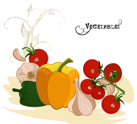 lobule: Vegetables in retro style Illustration