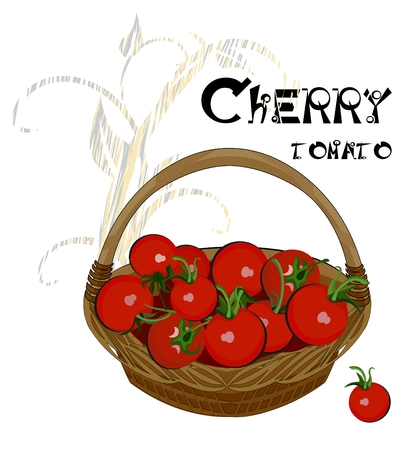 Cherry tomatoes in the basket Vector