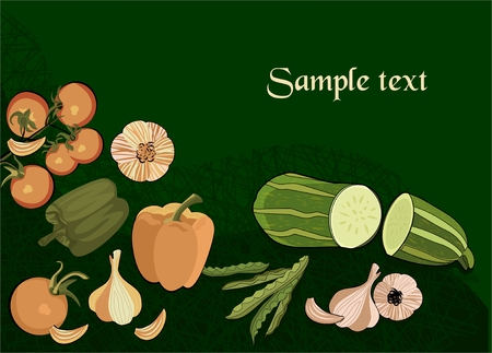 Vegetables in retro style  Vector