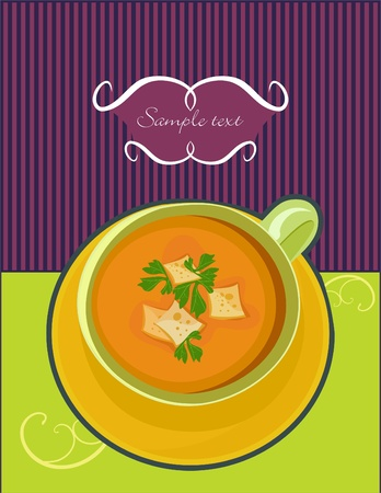 soup-puree with rusks and parsley