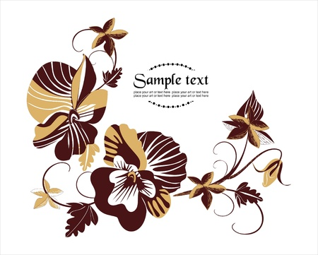 violas: vector background with  flowers in retro style