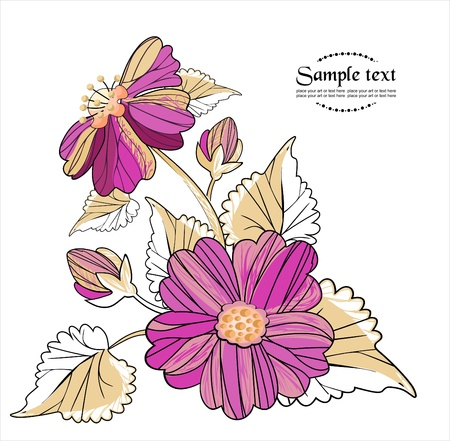 vector de fondo con flores en estilo retro Vectores
