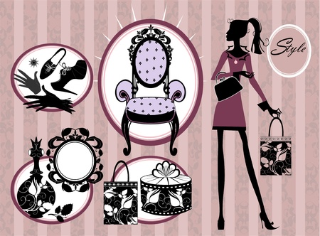 armchair shopping: beauty and style set Illustration