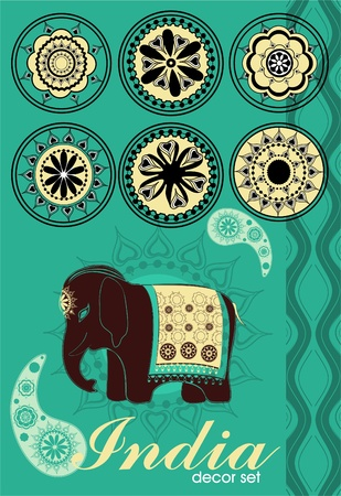 Decoration set in Indian style Illustration