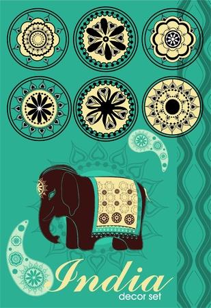 asian culture:  Decorazione impostato in stile indiano