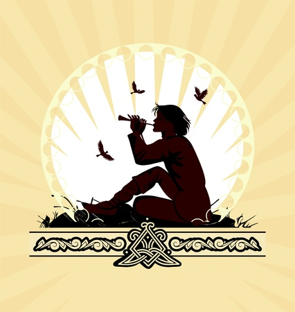 background with boy playing on panpipe Vector