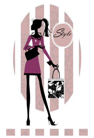 Beautiful young woman with shopping bag Vector