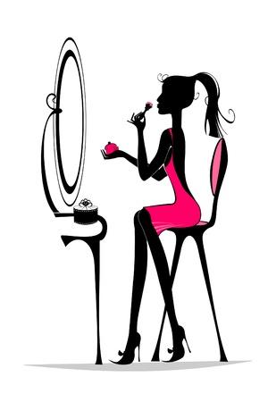 tendencja: Moda dziewczyna w domu Ilustracja
