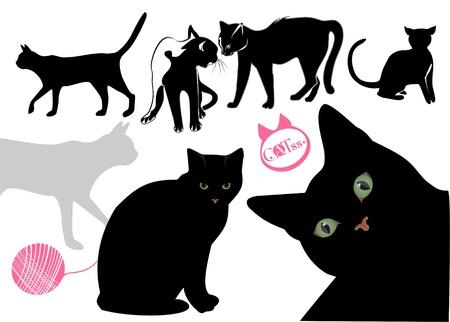 Los gatos la vida de vectores de fondo