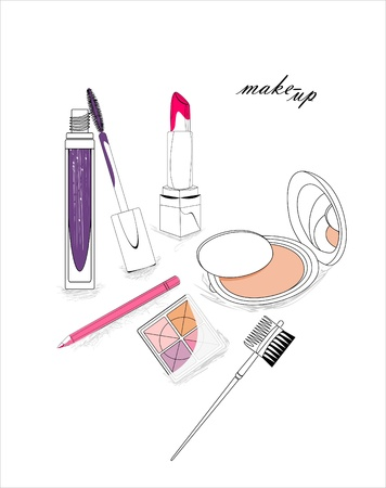 artistic background with lipstick, mascara, eye-shadows, pencil, powder and cosmetic brush
