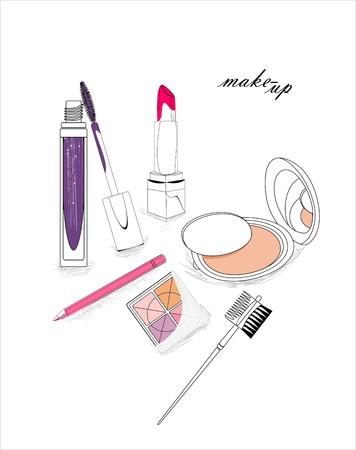 lash: artistic background with lipstick, mascara, eye-shadows, pencil, powder and cosmetic brush