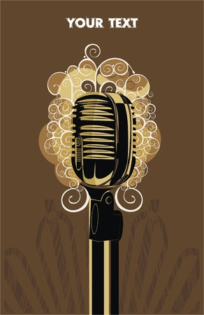 background with retro microphone and abstract pattern