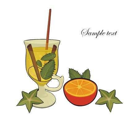 Hot drink with orange, spices, cinnamon stick and tropic fruits Vector
