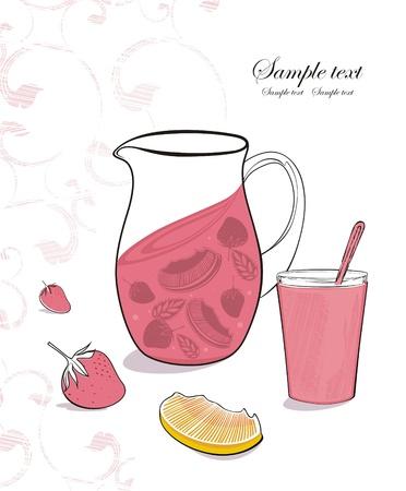 succo di bevanda fresca con fragole, menta e arance