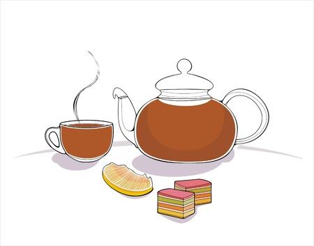 marmalade: sfondo con teiera, tazza, fetta d'arancia e marmellata Vettoriali