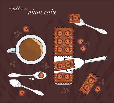 five o'clock: coffee with milk and plum cake Illustration