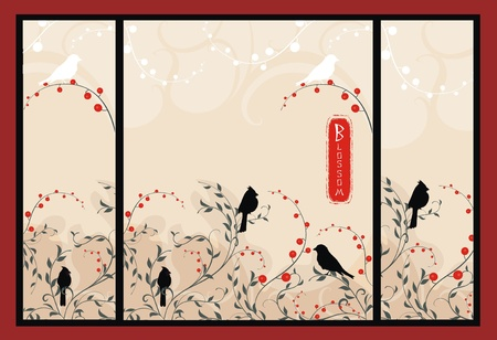 vector background with plants and birds in asian style Vector