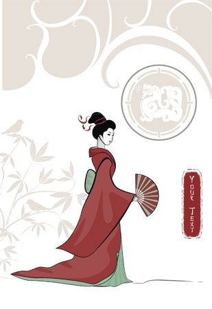 etnic: background with girl in japanese style