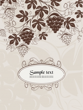 vector background with wine-grapes in vintage style
