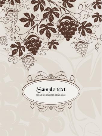vector de fondo con el de uvas de vinificaci�n en el estilo de la vendimia