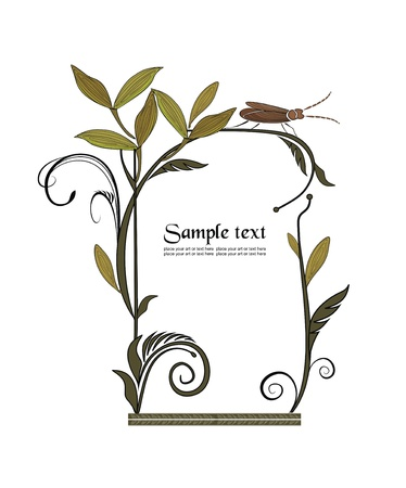 frame decorated with wild plants and grasshopper Vector