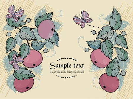 background with apples and butterfly - ready to place your art or text Vector