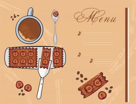 Dessertkarte mit Pflaumenkuchen und Kaffee
