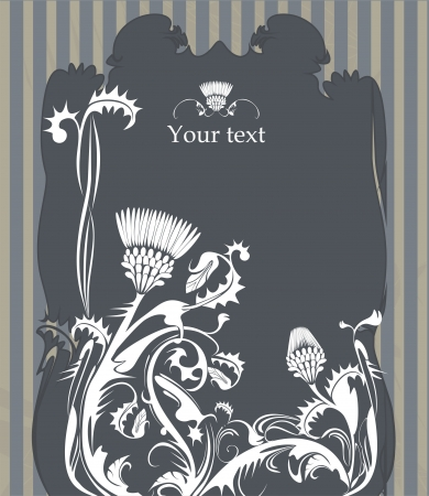 vector frame decorated with thistle plant in vintage style Иллюстрация