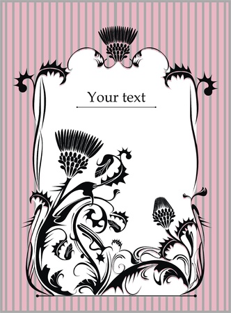 flowerhead:  vector frame decorated with thistle plant in vintage style Illustration