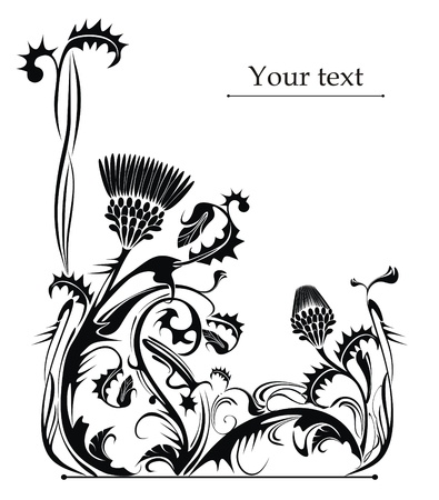 flowerhead: vector drawing of the thistle plant