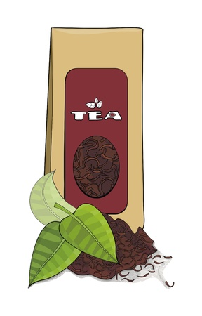 Paper pack of tea and tea leaves  Illustration