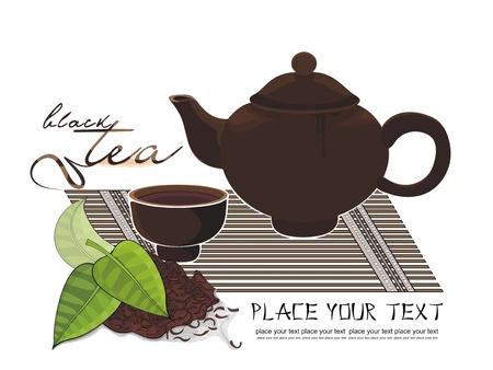 brew: tea brew and tea leaves Illustration