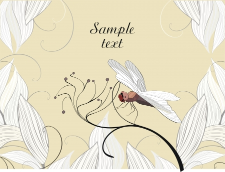 background with dragonfly - ready to place your art or text Stock Vector - 15830030
