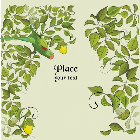 background with green parrot and lemon tree Stock Vector - 16135750