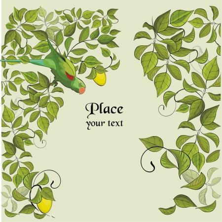 loros verdes: fondo con el loro verde y un �rbol de lim�n